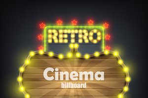 Wooden Cinema Retro Billboard Banner