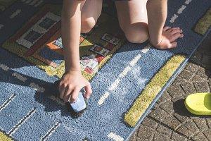 Child clean carpet
