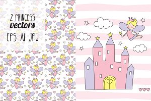 2 princess fairy vectors