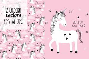 2 magic cute unicorn vectors