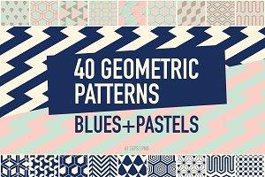 40 Geometric Patterns Blues+Pastels