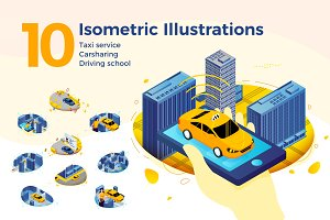 Car related isometric vector set