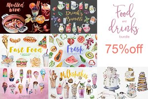 Watercolor Food and Drinks Bundle