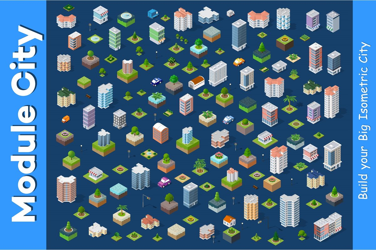 Modern 3D city isometric ~ Illustrations ~ Creative Market