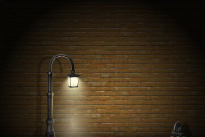 Vintage Streetlamp On Brick Wall