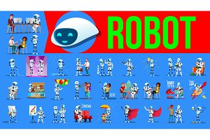 Robot Helper Set Vector. Future