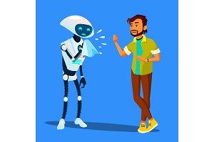 Sick Robot Sneezes At Scared Man