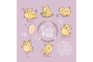 Set of Cute Tiny Yellow Pigs