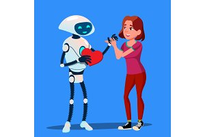 Robot In Love With Girl, Red Heart