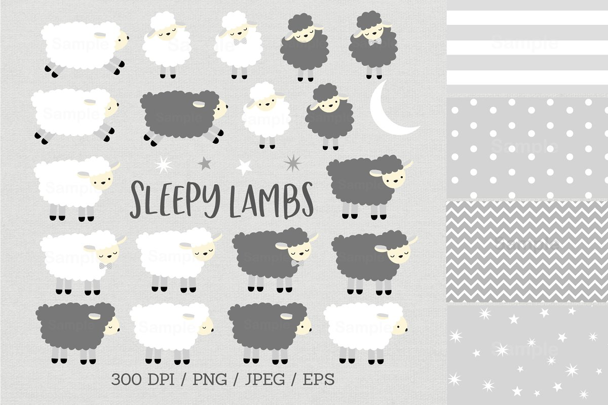 Sleepy Lamb Clipart in Illustrations - product preview 8