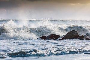 Storm waves on the ocean.