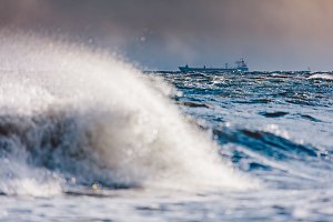 Stormy waves on the sea.