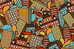 Town seamless patterns with houses.
