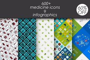 Medicine: 600+ icons. 9 infographic