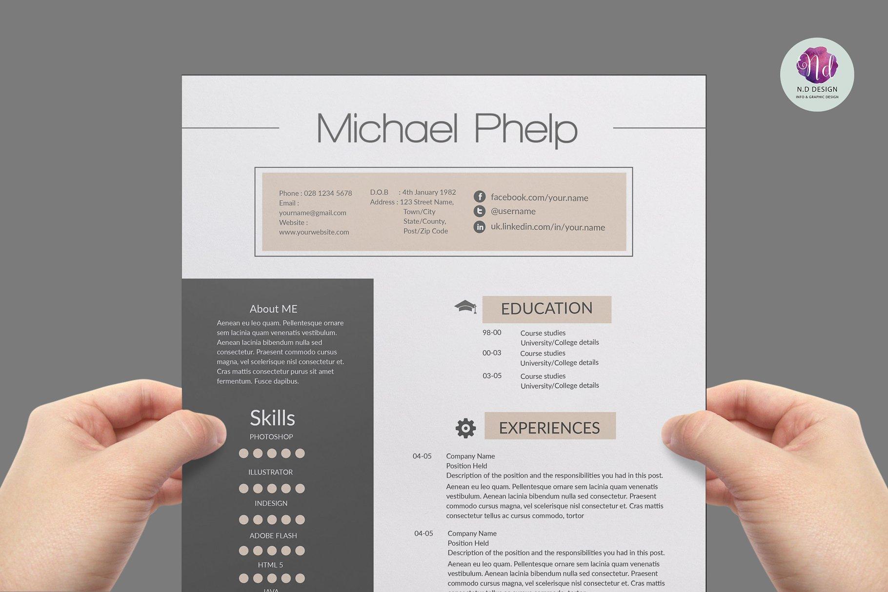 Professional Resume Template Resume Templates Creative Market Pro
