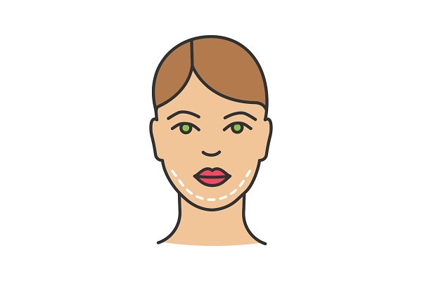 Double chin surgery color icon