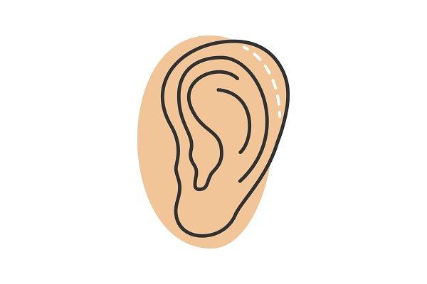 Ear plastic surgery color icon