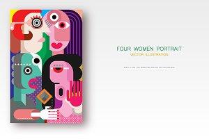 Four women vector illustration