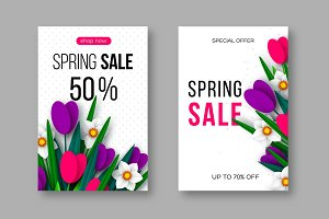 Spring sale posters with paper cut