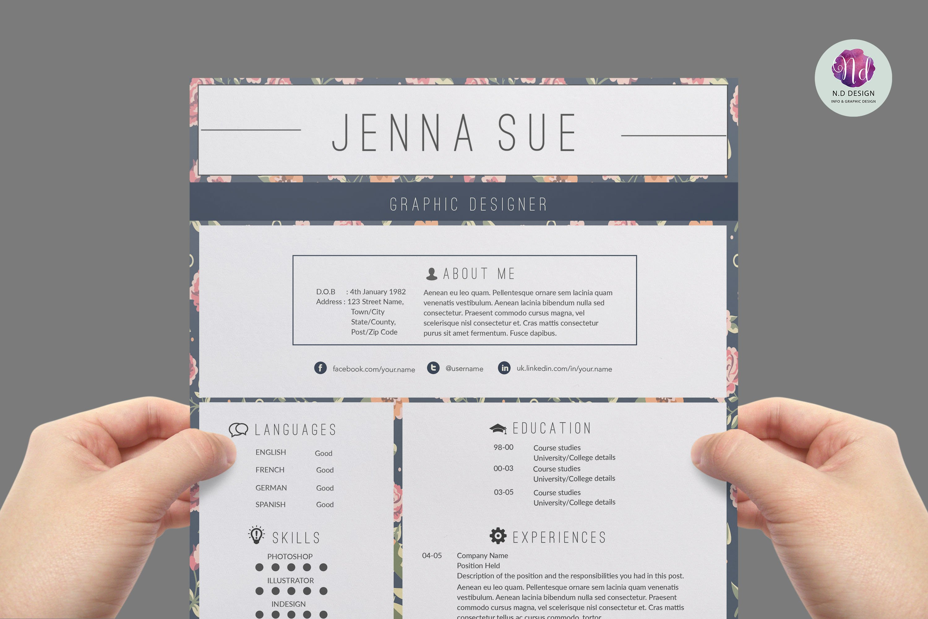 Modern Resume Template Resume Templates Creative Market - Floral assistant cover letter
