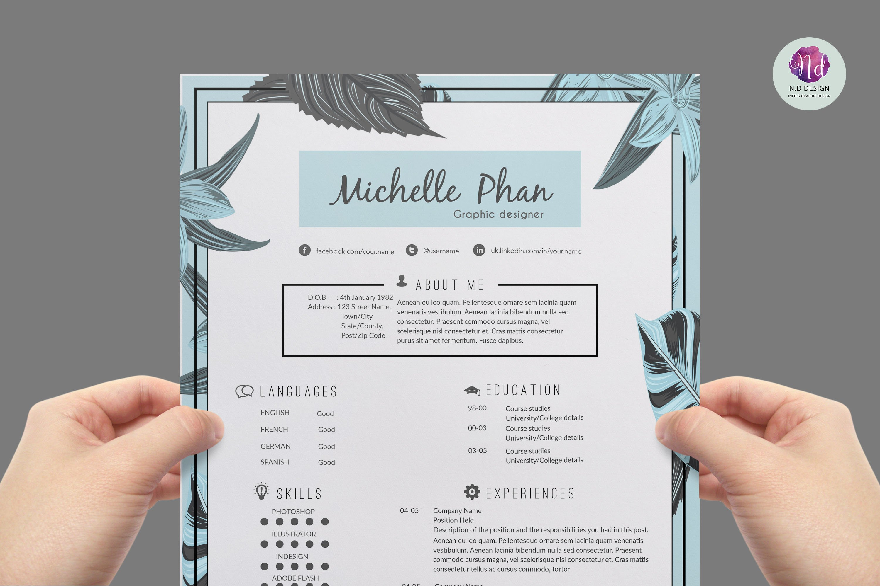 Modern Chic CV Template Resume Templates Creative Market