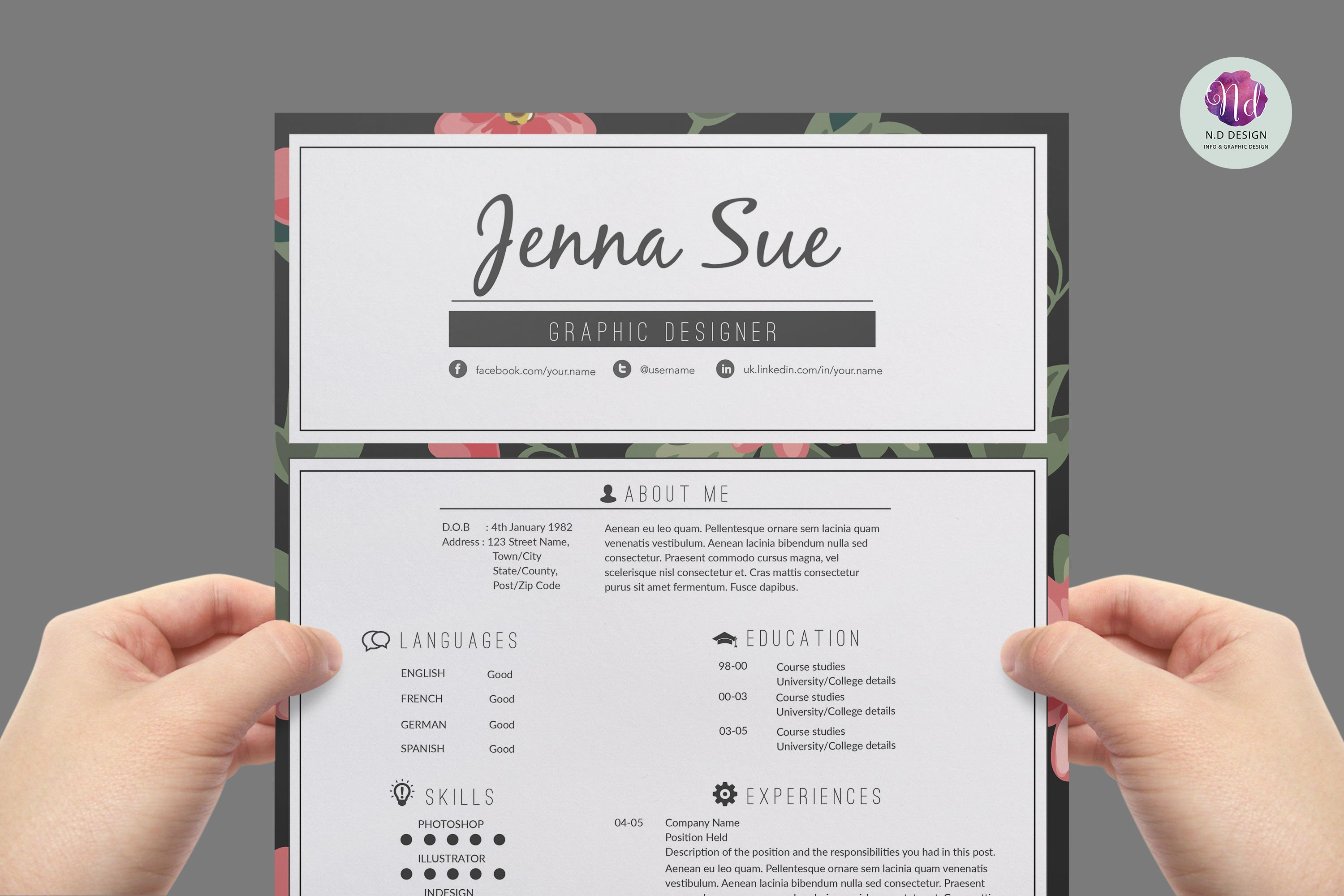 modern resume template resume templates creative market - Pretty Resume Templates