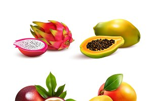 Ripe tropical fruits realistic set