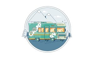 Illustration with a retro camper