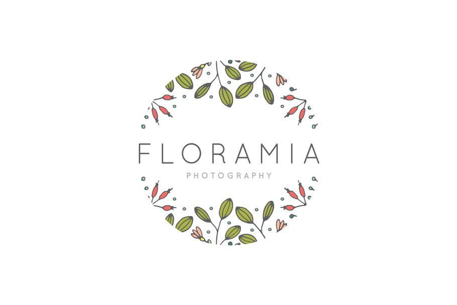 Floral Handdrawn Border Logo EPS PSD
