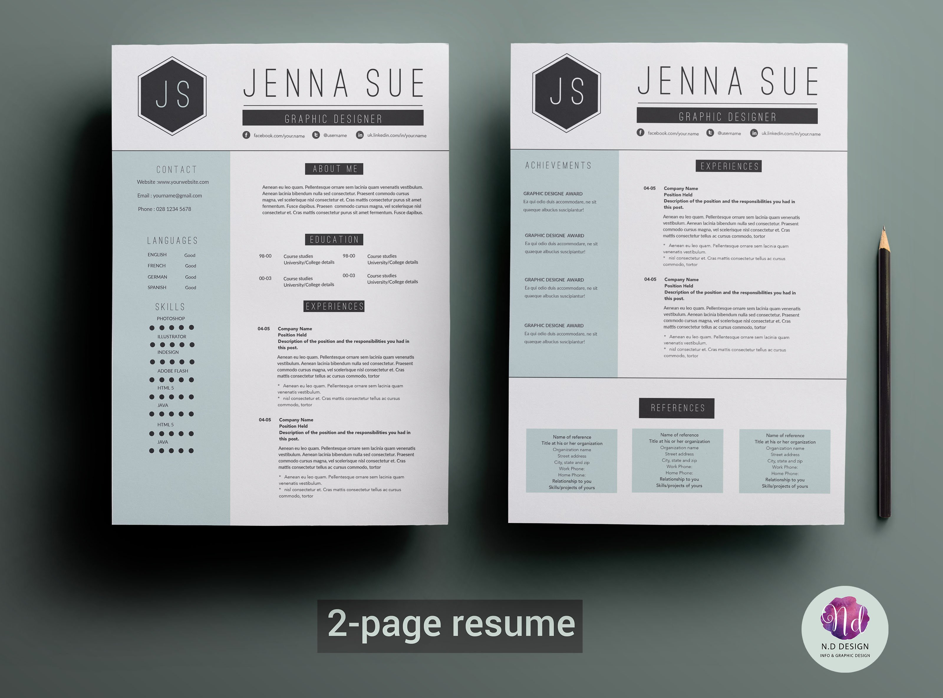 2 page resume template resume templates creative market - Awesome Resume Templates 2