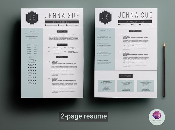 2 page resume template resume templates creative market