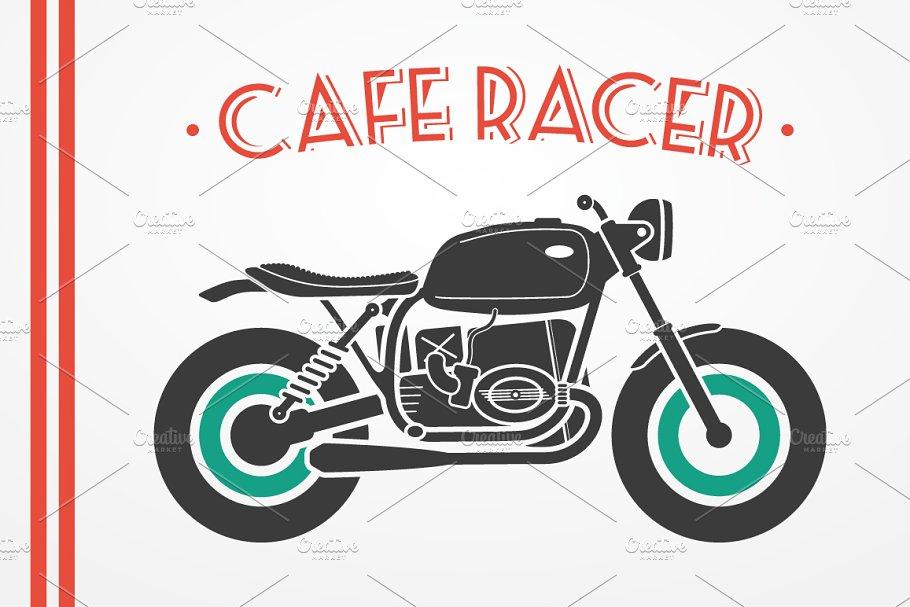Cafe racer motorcycle set
