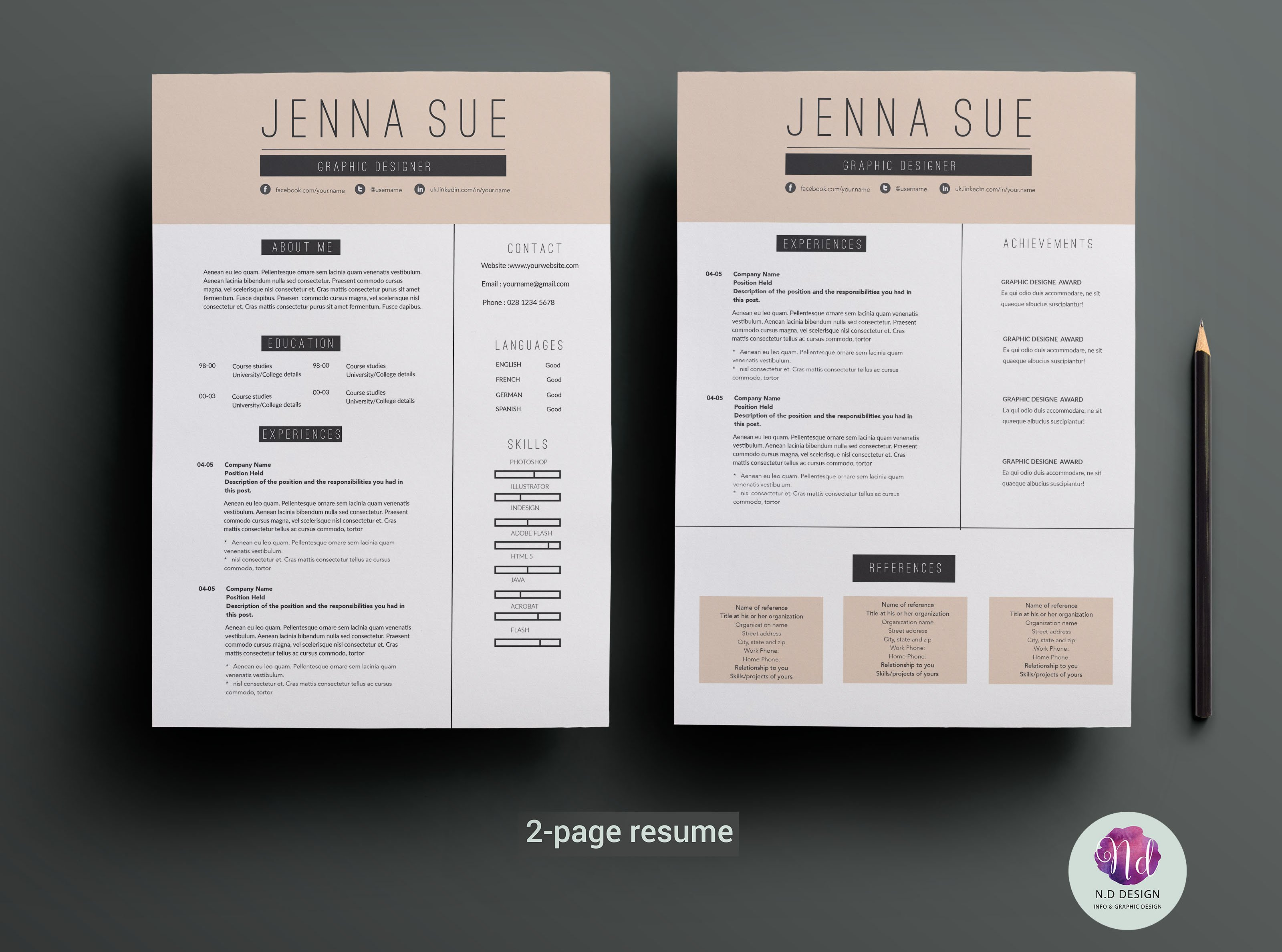 resume 1 Or 2 Page Resume 2 page resume template templates on creative market