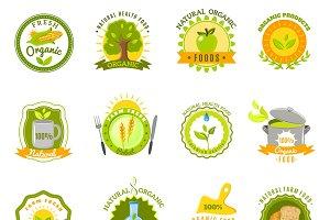 Organic products emblems icons set