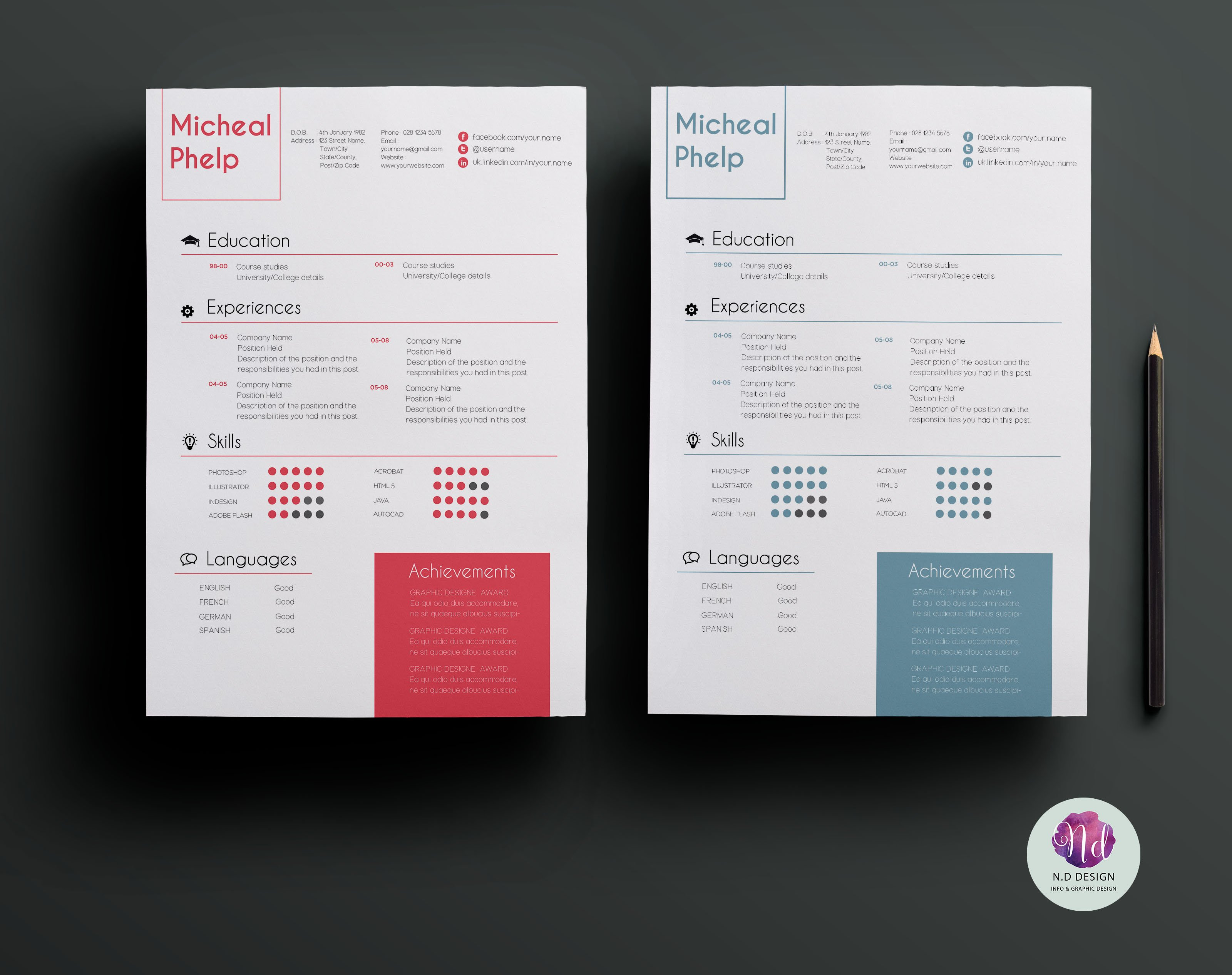 2 color options resume package  creative illustrator
