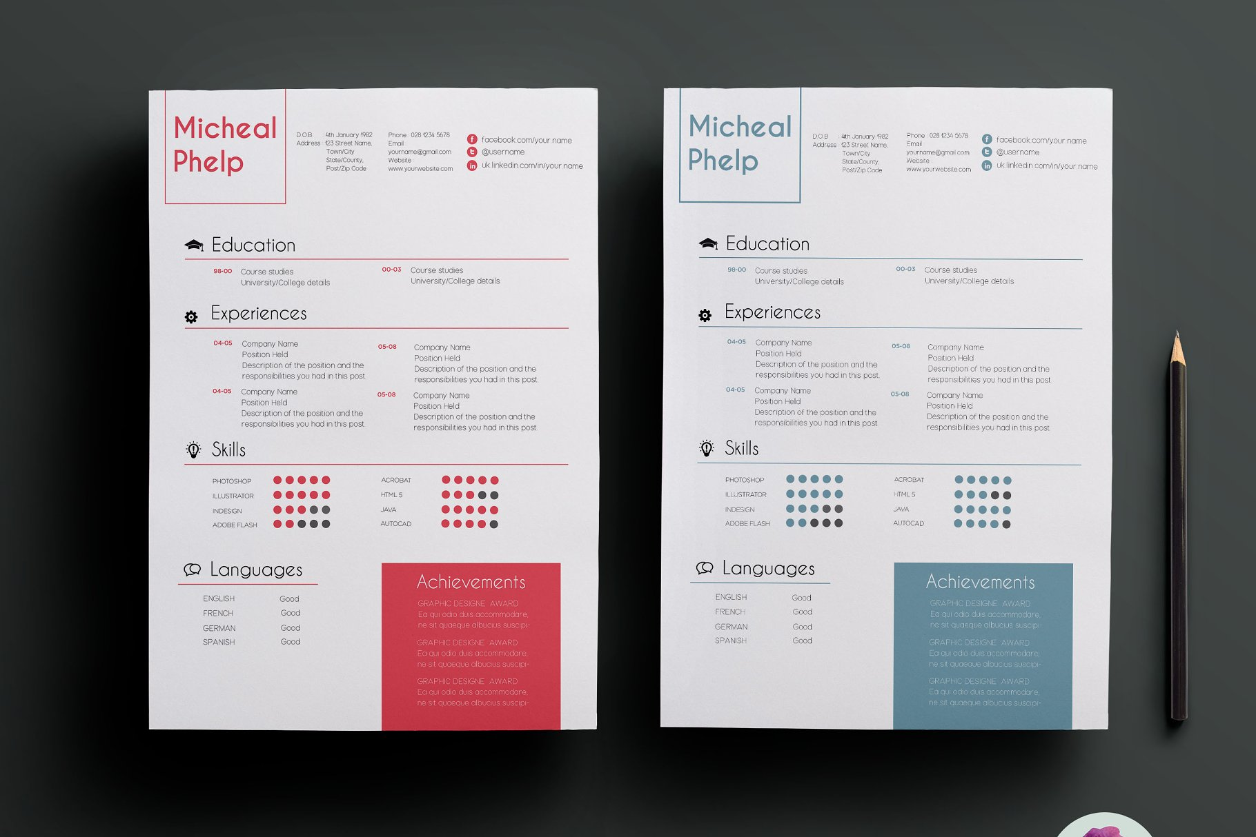 2 color options resume package - Resume Templates | Creative Market Pro