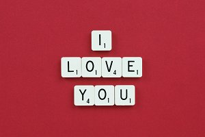 """I Love You"" Stock Photo on Red"