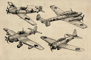 WW2 Axis Fighter Bomber Sketches