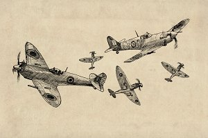 Spitfire WW2 Plane Clipart Pack