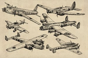 WW2 Bomber Aircraft Sketch Pack