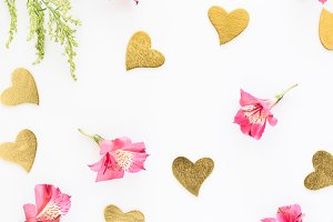 Stock Photo - Hearts & Flowers White