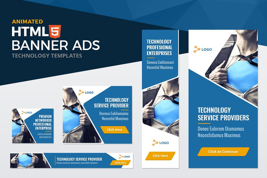 HTML5 Technology Banner Ad Templates