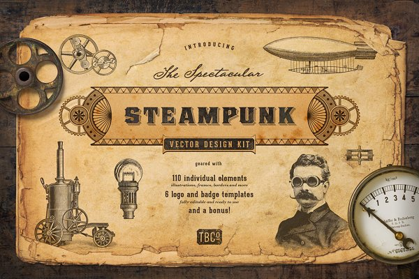 The Steampunk Vector Design Kit