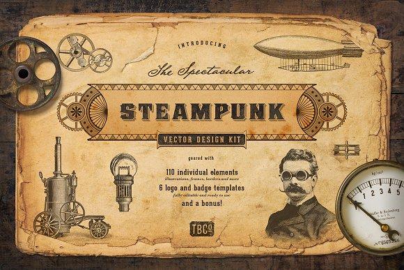 The Steampunk Vector Design Kit Pre Designed Photoshop Graphics Creative Market