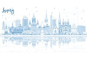 Outline Leipzig Germany City Skyline
