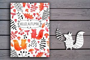 Autumn watercolor card&clipart