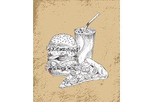 Fast Food Hamburger and Drink Vector