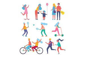 Skater Woman and Family Set Vector