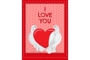 I Love you Poster with Doves Looking