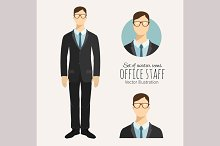 Young businessman in flat style.